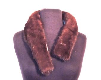 vintage fur collar - 1950s brown mink fur collar scarf