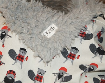 Super Soft Baby Blanket, Gray Llama Minky Fur Baby Blanket with Burley Beavers! Soft and Cute! Red, Black, n Gray Baby Blanket