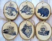 Christmas Ornaments Tree Branch Slice Rustic Woodland Camping Tent Bass Fishing Bear Wolf Steam Train Locomotive  Pick Up Truck