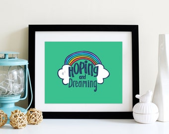 Art Above Crib HOPING and Dreaming in GREEN with Rainbow Clouds DIGITAL Download 8x10 and 5x7 Typographic Art Print