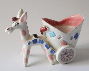 Vintage Italian Studio Pottery Donkey Cart Fratelli Fanciullacci