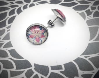 round stud earring 12mm, pink flower, photograph of a tapestry in a castle in France, stainless steel studs