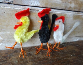 Vintage Easter Rooster Silk Chenille Stems Set of 3