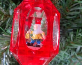 Vintage Jewel Brite Red Hard Plastic Christmas Ornament With A Elf or Gnome