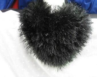 """hand knitted black fun fir scarf 36"""" long worn various ways"""
