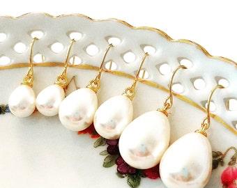 Pearl earrings Pearl teardrop earrings Pearl earrings dangle Pearl drop earrings Bridesmaid earrings Pearl earrings wedding Bridal earrings