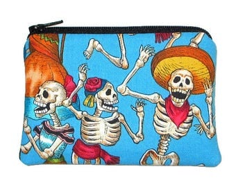 Day of the Dead Coin Purse Fiesta de los Muertos Turquoise Zipper Pouch  - Ready to Ship
