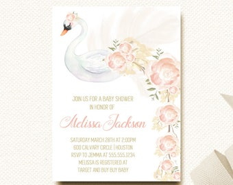 Swan Baby Shower Invitation | Swan Invite | Baby Shower Invite