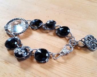 Wire Wrapped Button Bracelet Button and Crystal Bracelet Unique OOAK Vintage Glass Buttons
