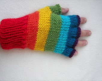RAINBOW Hand Knit Half Finger Gloves in Soft ALPACA Wool /  Chakra Knits / Coloful Gift / Yoga / Designer Knit Gloves