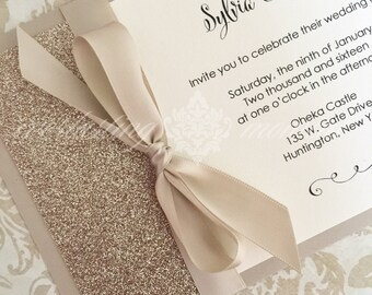 Glitter and Satin Bow Invitation wedding anniversary birthday birth announcement baptism bridal shower baby shower
