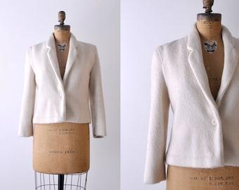 80 wool blazer. cream. 1980's medium jacket. tailored. white. collared. fur.