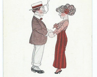 Vintage 1910's Comic Romantic Couple Postcard