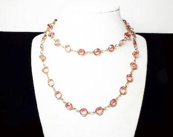 "Austrian Crystal Necklace - Bezel Set Faceted Glass Austrian Pink Crystals -  Encased Beads Rafealian Signed  - Vintage 1980's 30"" long"