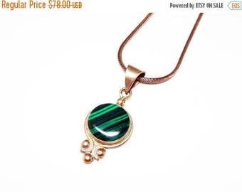 Sterling & Malachite Pendant Necklace - Signed Mexico - Sterling Silver Round Chain - Mexican Silver Jewelry - Pre 1970's Vintage