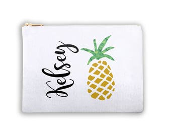 Pineapple Personalized Lined Costmetic Bag Monogrammed Makeup Bag Personalized Bridesmaid Gift Bag Personalized Coin Purse Canvas Tote