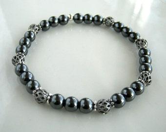 Antique Silver and Hematite Bracelet Gunmetal Stacking Bracelet Hematite Stretch Bracelet Hematite Jewelry