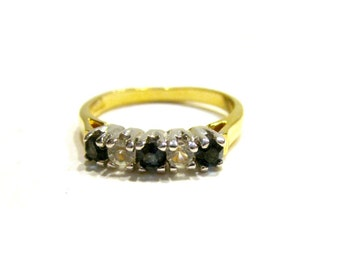 Gold Blue Clear Stone Ring Costume Ring Size 8 Band Jewelry Gift for Her Under 15 Stocking Stuffer