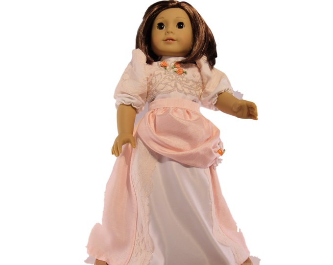 Collectable Hand beaded Victorian set in Peach and blouse and long skirt with bustle fits 18 inch dolls