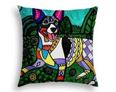 Rat Terrier Pillow Dog Folk Art throw Pillow by Heather Galler - 5 Sizes to choose from