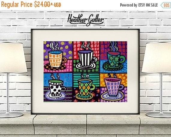 50% Off Today- Coffee Cups Art Kitchen Wall Decor Art Poster Print of painting by Heather Galler Painting Folk Art (HG317)Digital File