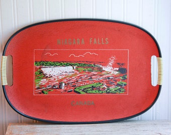 Vintage Tray, Niagra Fall Souvenir, Canada Tray,  Red Canadian  Mid Century 1960s Niagra Falls