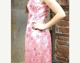 On Sale Vintage 1960s Floral Pink Beaded Gown