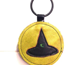 HALLOWEEN Handmade Leather Witch Hat Keychain - Slime Green