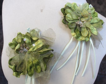Cute velvet flower 2 piece listing olive color  4 inches in diameter