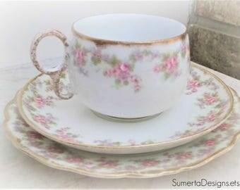 Antique Limoges tea cup trio ~ pink floral tea cup  ~ 1900s Limoges ~ teacup ~ Elite Works Limoges ~ art nouveau ~ floral Limoges France