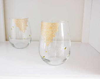 Single Bees and Honeycomb Hand Painted Wine Glass