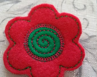 Clearance Christmas Red And Green Flower Hair Clip / Embroidered Felt / Ready To Ship