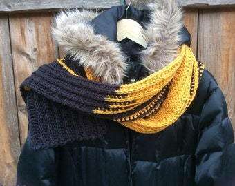 Sprited Crochet Scarf Gold and Black