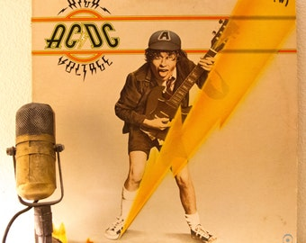 "ACDC Vinyl Record Album 1970s Hard Rock Blues Australian Bawdy Rock and Roll Angus Young Bon Scott ""High Voltage"" (1970's ATCO re-issue)"