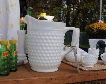 Vintage Milkglass Hobnail pitcher
