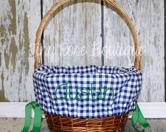 Easter Basket Liner- Navy Gingham, Monogrammed Easter Basket Liner