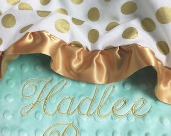 Gold Polka Dot Baby Blanket, Opal and Gold Polkadot Cotton Baby Blanket, Personalized Baby blanket, Gold Polkadot Nursery, Baby Shower Gift