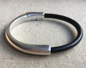 Cuff BRACELET half BLACK leather, half metal magnetic SILVER clasp bracelet