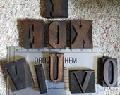 Small collection of letterpress letters F O X Y O U I V