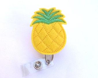 Cute Badge Reel ID Holder Retractable - Pineapple - yellow felt - nurse badge reel medical badge holder fruit tropical