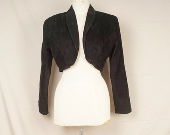 cropped black Leather Jacket 80s Vintage short bolero genuine real suede Rocker Jacket large Firenze