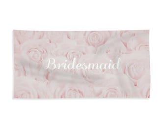 "Blush Pink ""Bridesmaid"" Towel for Bath or Beach, gift for bridesmaid, best friends, bridesmaid gift, destination wedding- 1610PKBRIDESMAID"