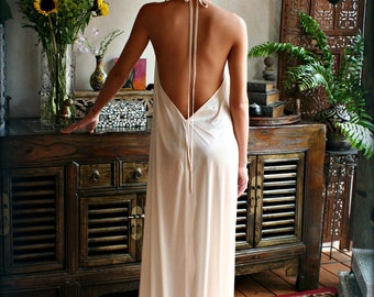 Bridal Satin Backless Nightgown Wedding Lingerie Bridal Lingerie Wedding Nightgown Honeymoon Sleepwear Satin Lingerie Halter nightgown