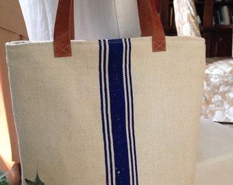Market Tote// Grain Sack Bag// Tote//blue grain sack bag// grain sack tote