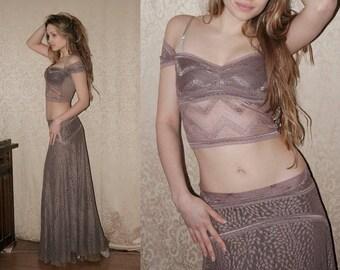 Moonalia Romantic Mauve Lace Top