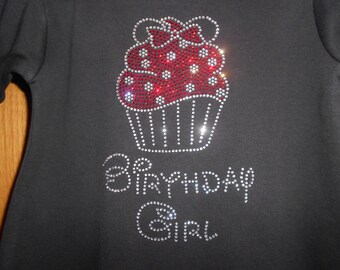 Minnie Cupcake Birthday Girl Rhinestone Transfer
