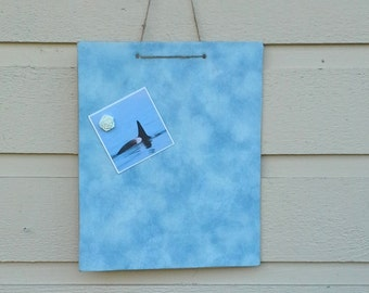 Magnet Board, mini memo board - Turquoise blue cotton with a textured pattern for photo display, vision board, hangs with twine