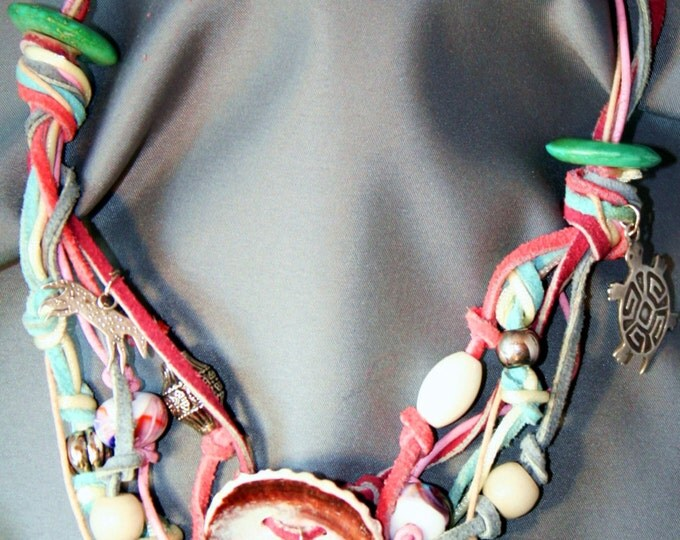 Desert Treasure Necklace with Leather, Silver Charms, Shells, Lamp Work Glass Beads