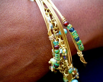 Wire Wrapped Brass Layering Bracelets with Blue Green Czech Glass Beads