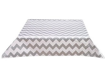 48x48 Chevron Silver Oilcloth Tablecloth with a Simple Hem